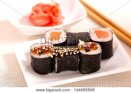 Japan sushi rolls and ginger closeup shot