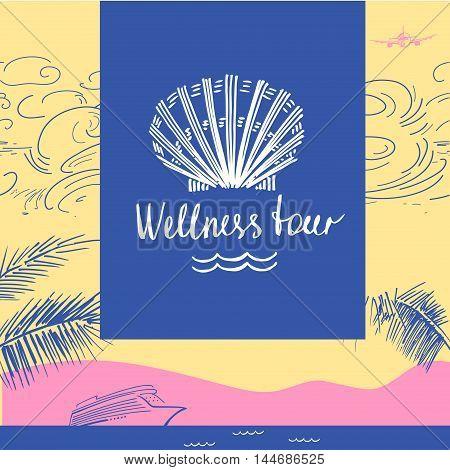 Vector Logo Travel Company. Tourist Trip And Wellness Tour. Desi