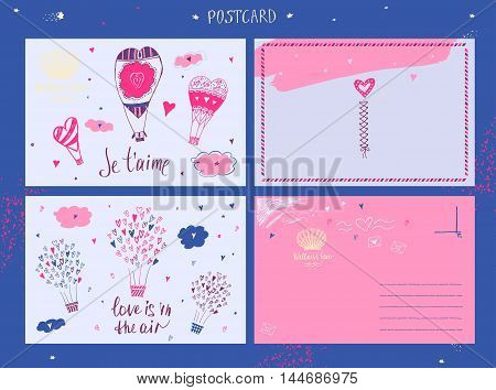 Vector Poctcard With Logo Travel Company. Tourist Trip And Welln