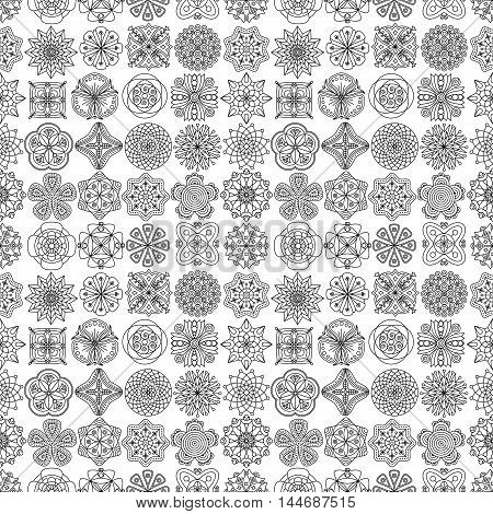 Seamless pattern of doodle flower mandalas in black and white. Floral background for textile & paper print, gift wrap, coloring book pages, botanical icons.