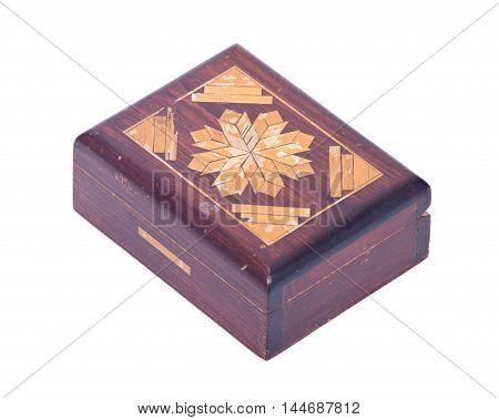 Vintage treasure box separated on white background