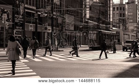 People Cross Street At Susukino, Sapporo