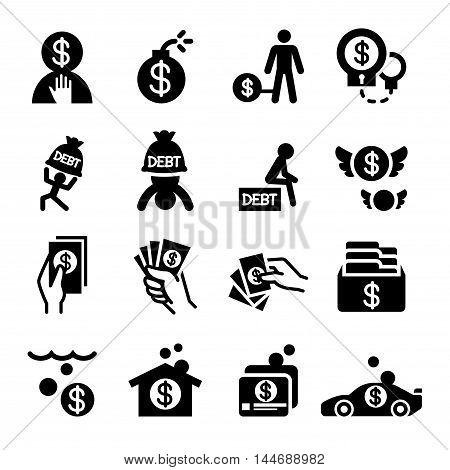 Business crisis icon set  Vector illustration Graphic design