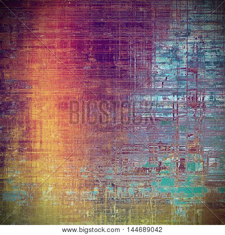 Oldest vintage background in grunge style. Ancient texture with different color patterns: blue; red (orange); purple (violet); yellow (beige); brown; pink