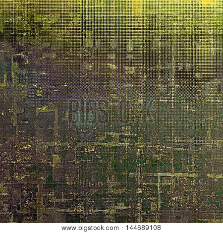 Retro style graphic composition on textured grunge background. With different color patterns: gray; green; purple (violet); yellow (beige); brown