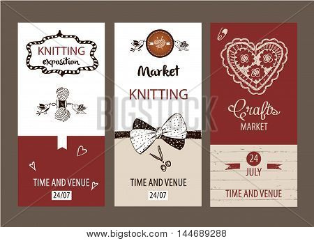 Crafts market. Knitting with love.  Element of corporate identity, banner, card for handmade home business with vector logo ball of yarn in the form of heart and knitting needles. Knit and Crochet.