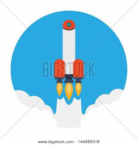 Flat design business startup launch concept, Vector rocket icon