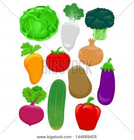 Vector Illustration of Set of Different Vegetables