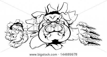 Bulldog Crashing Through Wall