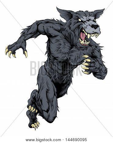 Wolf Sports Mascot Or Werewolf Running