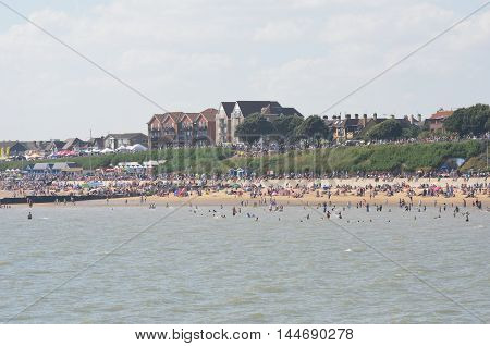 Clacton on Sea United Kingdom - August 26 2016: Large crowd on beach at Clacton on sea on air show day from the pier