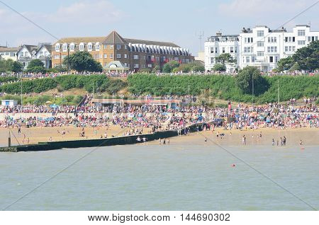 Clacton on Sea United Kingdom - August 26 2016: Large crowd on beach at Clacton on air show day from the pier