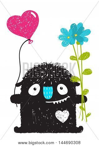 Happy funny childish little monster congratulates. Vector drawing.