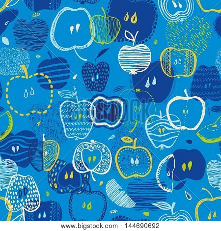 Colorful  blue fun seamless vector pattern with hand drawn apples