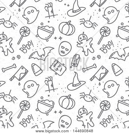 Halloween gray pattern drawing in flat style