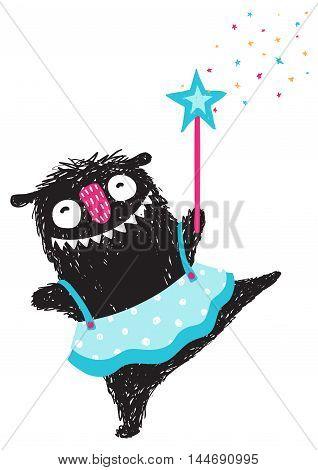 Happy funny little girl monster dancing ballet. Children cartoon illustration. Vector drawing.