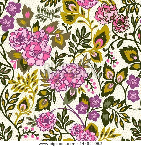 Seamless pattern with stylized pink roses. Vector floral background