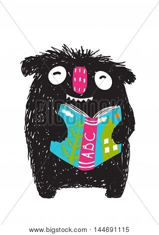 Happy funny little monster education and reading picture for children. Cartoon illustration. Vector drawing.