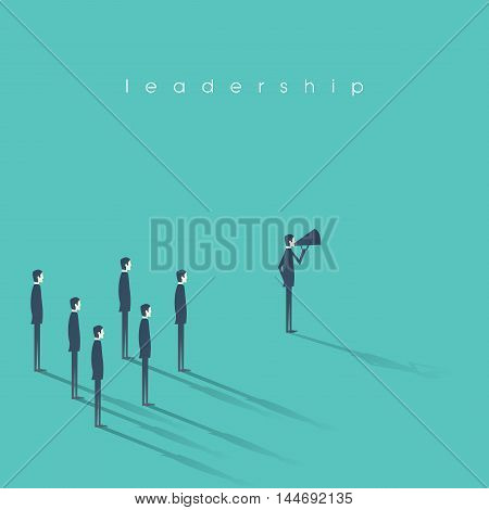 Business leadership concept vector illustration with businessman speaking on megaphone and followers. Eps10 vector illustration.
