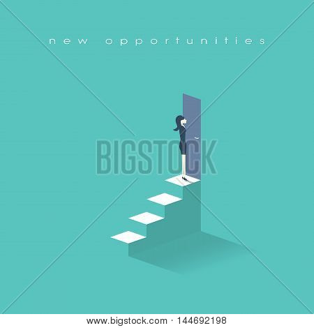 Businesswoman standing on top of stairs in front of doors. Business symbol of new opportunities and career progress. Eps10 vector illustration.