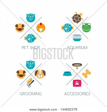 Set of pet shop logo emblem or label design elements. Vector color icons. Goods and accessories for animals. Design concept for veterinary pets care grooming aquarium.
