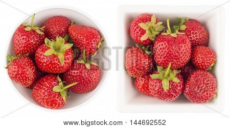bowl with strawberries isolated on white background. Top view