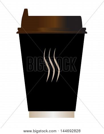 A typical paper coffee cup over a white background
