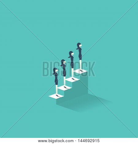 Career growth vector illustration concept with businesswomen standing on stairs to the top. Emancipation symbol for women at professional working life. Eps10 vector illustration.