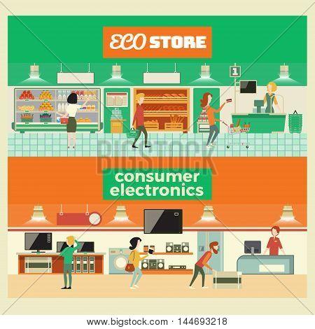 Eco shop and consumer electronics interior. Cartoon vector illustration