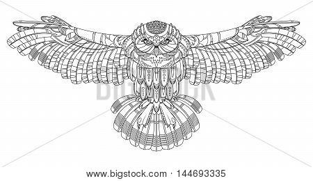Owl bird coloring book vector illustration. Anti-stress coloring for adult. Zentangle style. Black and white lines. Lace pattern