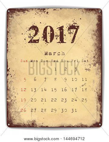 A retro style tin and enamel signboard with monthly calendar for March 2017. EPS10 vector format.