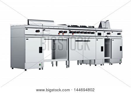 Kitchen equipment culinary steel for cooking. 3D graphic