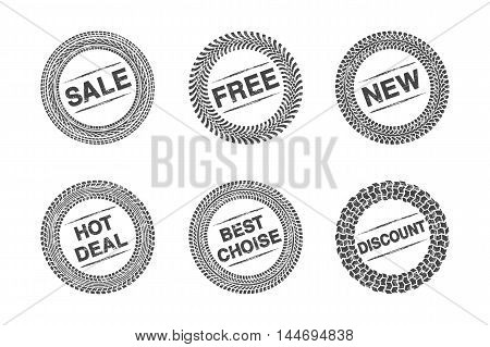 Shopping label tire tread with grunge effect. Vector illustration