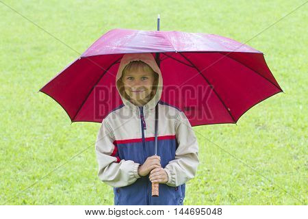 Happy little boy under umbrella in the rain. Outdoors. Child like rainy weather