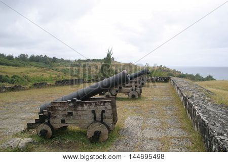 Three sooth bore Spanish cannons in Fort Soledad in Guam