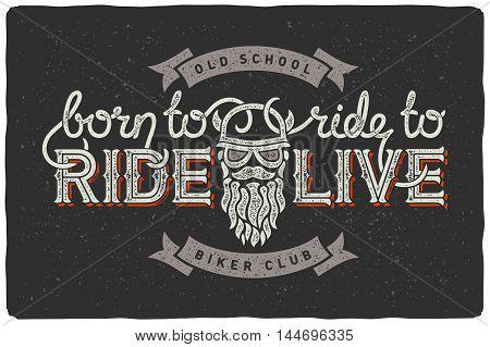 Biker club badge emblem with beard man and slogan