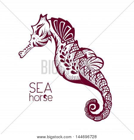 Hand drawn, tattoo stylised seahorse. Marine life sketch zentangle design element for summer vacation vector illustration