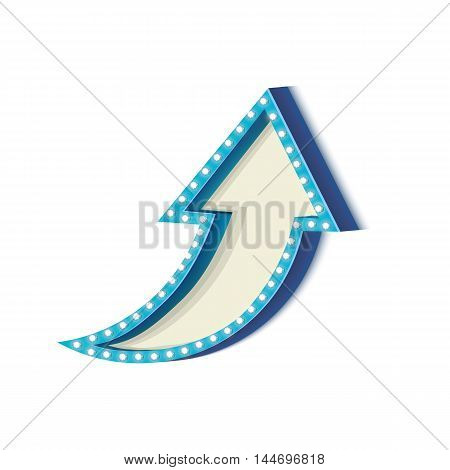 Blue retro frame. Volumetric vintage frame with lights. Futile empty space for your text message advertising. Blue light lamps falls on a white background. illustration