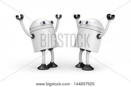 Joyful meeting of two robots. 3d illustration