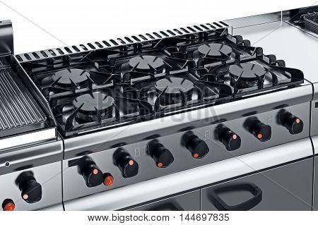 Kitchen equipment steel burner with knob, close view. 3D graphic