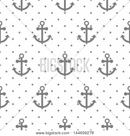 Seamless vector pattern with nautical anchors. Sea theme dotted gray on white anchor repeat background.