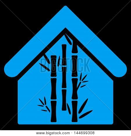 Bamboo House icon. Vector style is flat iconic symbol, blue color, black background.