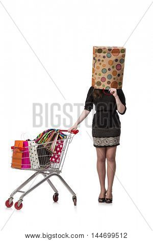 Woman with shopping cart and bags isolated on white