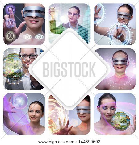 Collage of techno girl photos