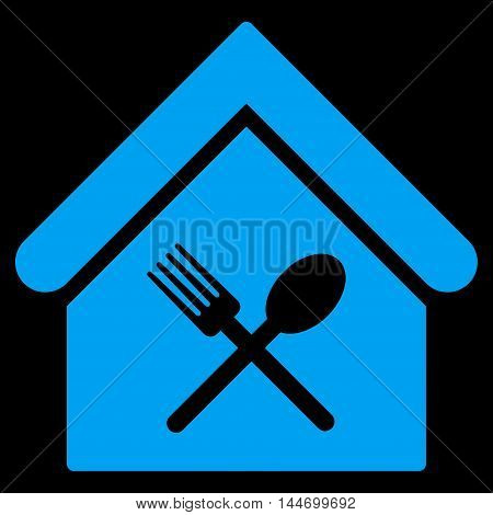 Food Court icon. Vector style is flat iconic symbol, blue color, black background.