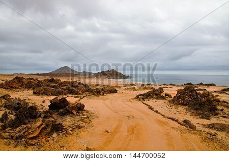 Long shot of the National Park Pan de Azúcar with the ocean and an island in the background close to Chañaral in Chile, South America