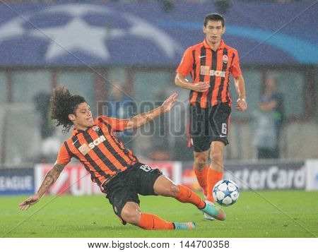 VIENNA, AUSTRIA - AUGUST 19, 2015: Marcio Azevedo (FC Shakhtar) kicks the ball in an UEFA Champions League qualification game.