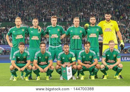 VIENNA, AUSTRIA - AUGUST 19, 2015:  The team of SK Rapid poses before an UEFA Champions League qualification game.