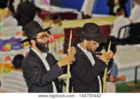 BNEI- BRAK, ISRAEL - SEPTEMBER 17, 2013: Traditional market before the holiday of Sukkot. Religious Jews in black hats and piles of carefully selected ritual plants