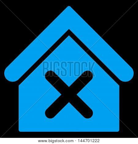 Wrong House icon. Vector style is flat iconic symbol, blue color, black background.